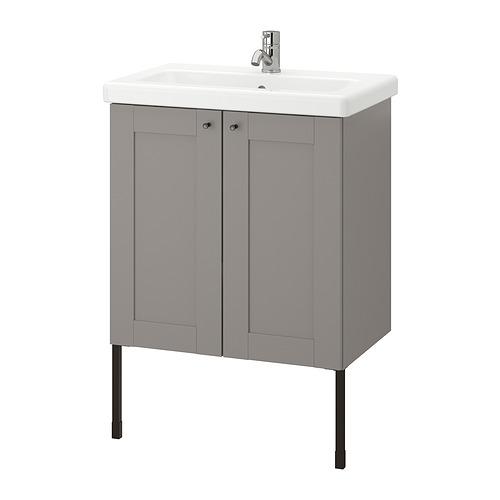 TVÄLLEN/ENHET - 雙門洗手盆櫃, grey frame/grey Lillsvan tap | IKEA 香港及澳門 - PE830866_S4