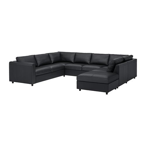 VIMLE - u-shaped sofa, 6 seat, with open end/Grann/Bomstad black | IKEA Hong Kong and Macau - PE774107_S4