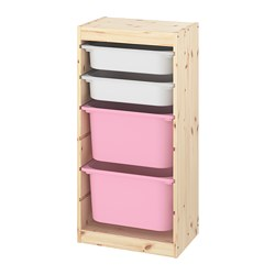 TROFAST - storage combination with boxes, light white stained pine white/pink | IKEA Hong Kong and Macau - PE774111_S3