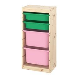 TROFAST - 貯物組合連物盒, light white stained pine green/pink | IKEA 香港及澳門 - PE774113_S3