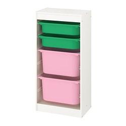 TROFAST - 貯物組合連物盒, white/green pink   IKEA 香港及澳門 - PE774115_S3