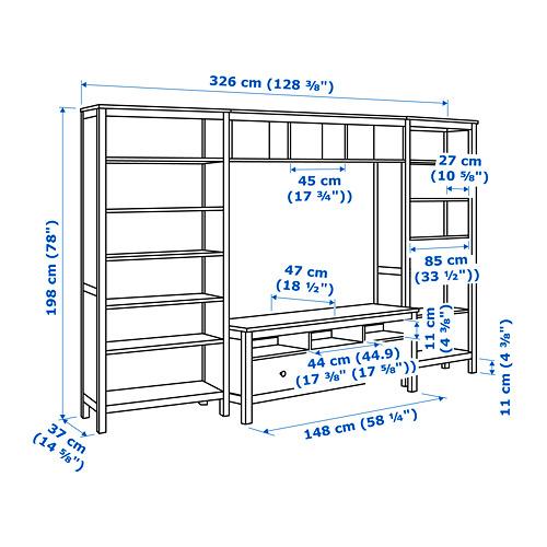 HEMNES - 電視貯物組合, 染白 | IKEA 香港及澳門 - PE731394_S4