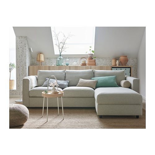 VIMLE - 3-seat sofa-bed with chaise longue, Gunnared beige | IKEA Hong Kong and Macau - PH163269_S4