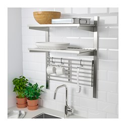 KUNGSFORS - suspension rail with shelf/wll grid, stainless steel | IKEA Hong Kong and Macau - PE688441_S3