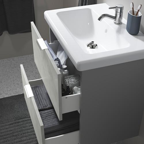 TVÄLLEN/ENHET - 雙抽屜洗手盆櫃, concrete effect/grey Pilkån tap | IKEA 香港及澳門 - PE786175_S4