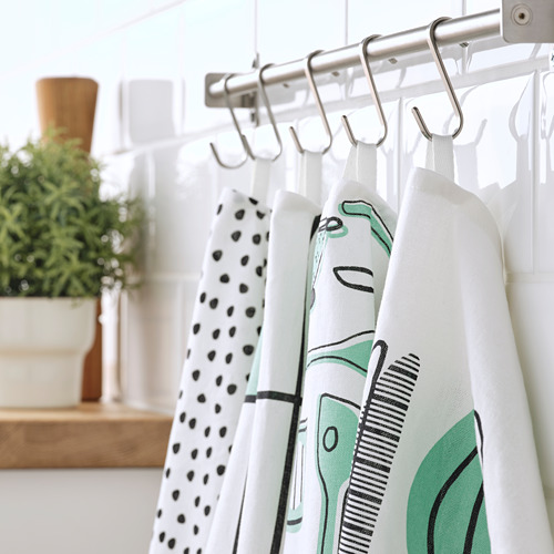 RINNIG - 抹布, 白色/綠色/圖案 | IKEA 香港及澳門 - PE786443_S4