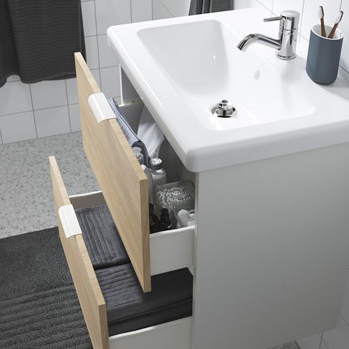 TVÄLLEN/ENHET - 雙抽屜洗手盆櫃, 橡木紋/白色 PILKÅN水龍頭 | IKEA 香港及澳門 - PE786180_S4