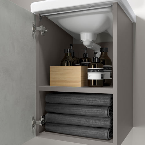 TVÄLLEN/ENHET - wash-basin cabinet with 1 door, concrete effect/grey Pilkån tap | IKEA Hong Kong and Macau - PE786192_S4