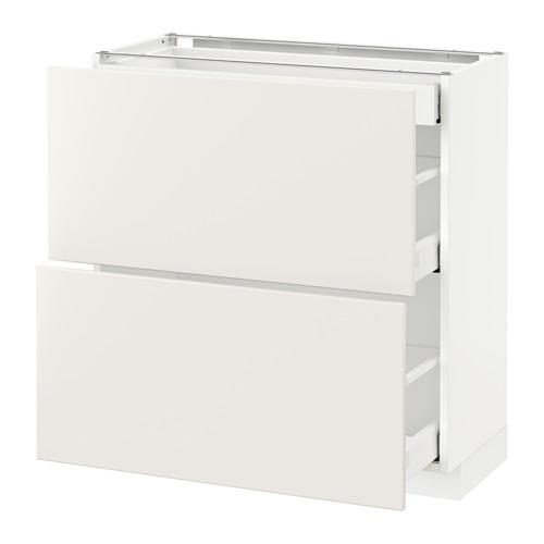 METOD - base cab with 2 fronts/3 drawers, white Maximera/Veddinge white | IKEA Hong Kong and Macau - PE515804_S4