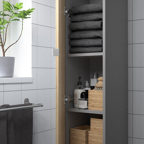 ENHET - 高櫃連4層板/門, 灰色/橡木紋   IKEA 香港及澳門 - PE786262_S4