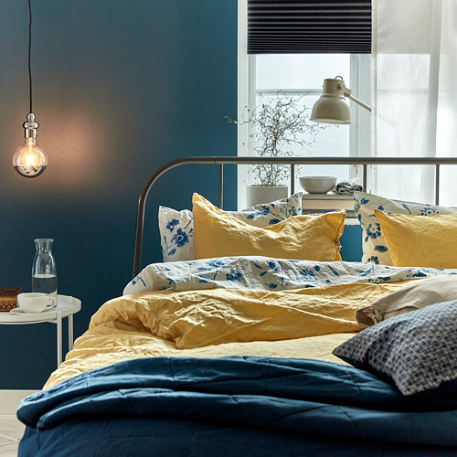 PUDERVIVA 被套枕袋套裝, 淺黃色, 150x200/50x80 cm
