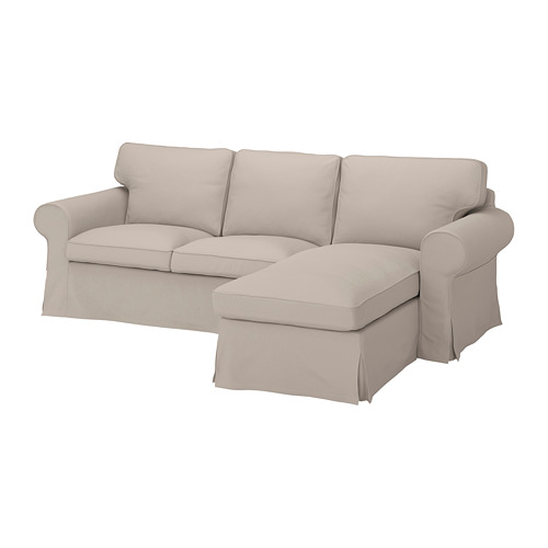 EKTORP - cover for 3-seat sofa, with chaise longue/Totebo light beige | IKEA Hong Kong and Macau - PE774509_S4