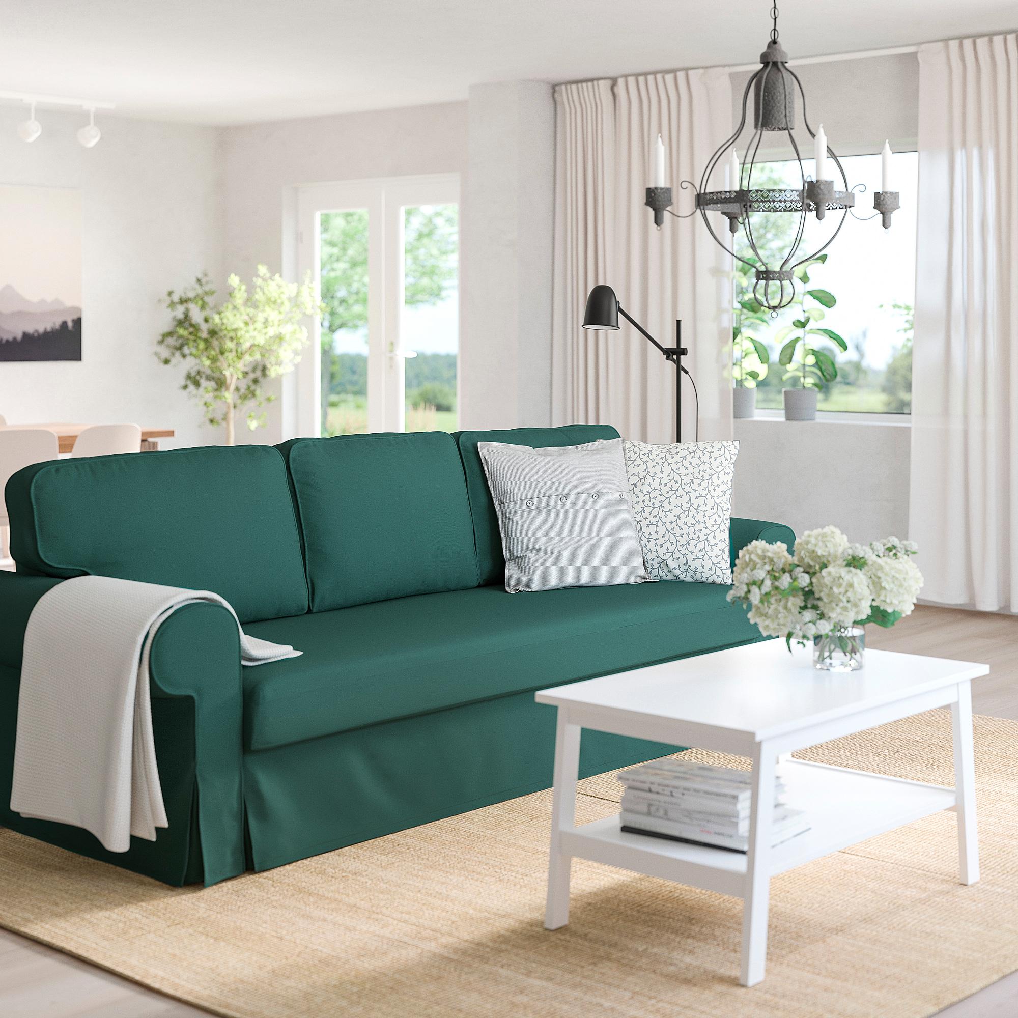 VRETSTORP   3 seat sofa bed, Totebo dark turquoise   IKEA ...