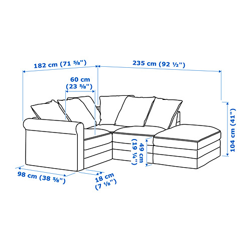 GRÖNLID - corner sofa, 3-seat, with open end/Sporda dark grey | IKEA Hong Kong and Macau - PE688699_S4