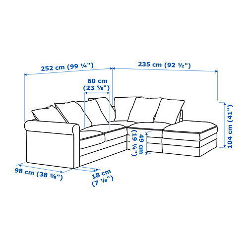 GRÖNLID - corner sofa, 4-seat, with open end/Ljungen medium grey | IKEA Hong Kong and Macau - PE688701_S4