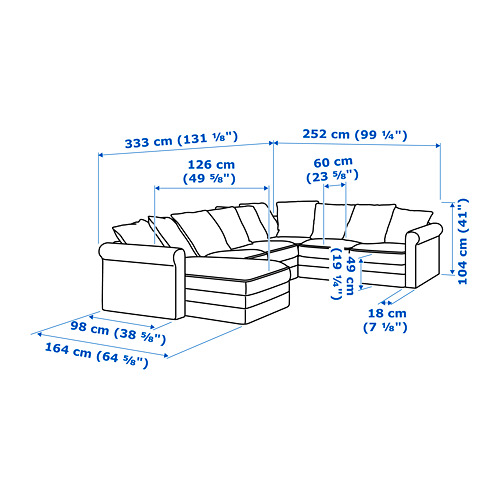 GRÖNLID - corner sofa, 5-seat, with chaise longue/Ljungen light red | IKEA Hong Kong and Macau - PE688703_S4