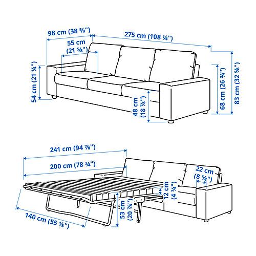 VIMLE - 三座位梳化床, 有寬闊扶手/Gunnared 暗灰色 | IKEA 香港及澳門 - PE831255_S4