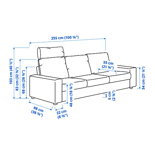 VIMLE - 三座位梳化, with headrest with wide armrests/Gunnared beige | IKEA 香港及澳門 - PE831256_S4