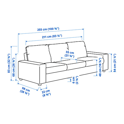 VIMLE - 三座位梳化, 有寬闊扶手/Hallarp 灰色 | IKEA 香港及澳門 - PE831252_S4