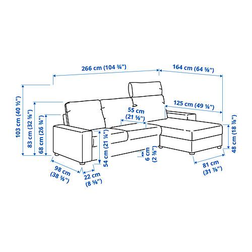 VIMLE - 三座位梳化連躺椅, with wide armrests with headrest/Hallarp beige | IKEA 香港及澳門 - PE831257_S4
