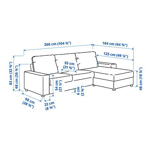 VIMLE - 三座位梳化連躺椅, with wide armrests Saxemara/black-blue | IKEA 香港及澳門 - PE831247_S4