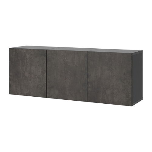BESTÅ - wall-mounted cabinet combination, black-brown/Kallviken concrete effect | IKEA Hong Kong and Macau - PE731964_S4