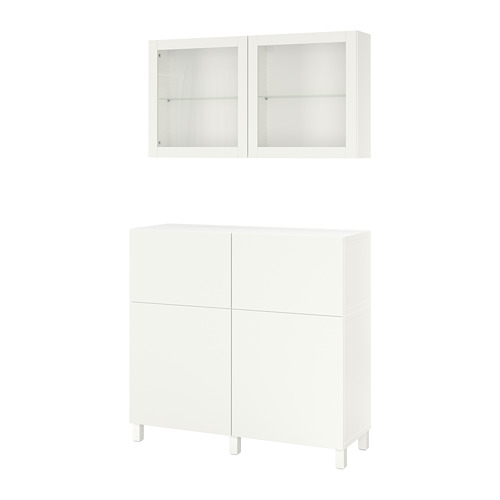 BESTÅ - storage combination w doors/drawers, white/Lappviken/Stubbarp white clear glass | IKEA Hong Kong and Macau - PE731972_S4