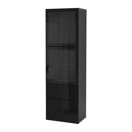 BESTÅ - 玻璃門貯物組合, black-brown/Selsviken high-gloss/black clear glass   IKEA 香港及澳門 - PE731987_S4
