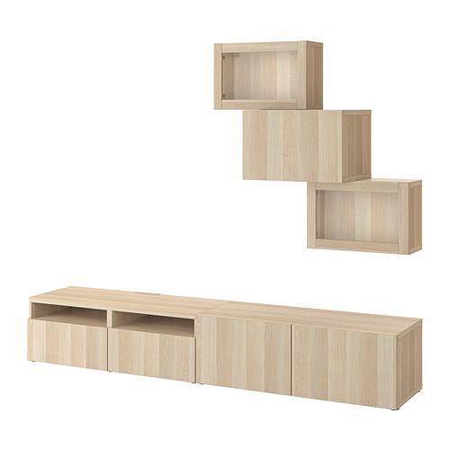 BESTÅ - 電視貯物組合/玻璃門, white stained oak effect/Lappviken white stained oak eff clear glass | IKEA 香港及澳門 - PE732000_S4