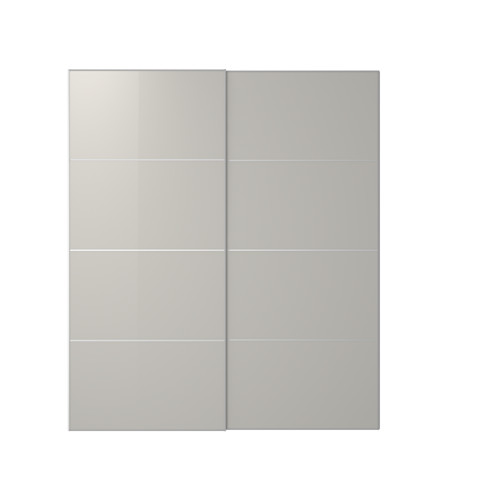HOKKSUND - pair of sliding doors, high-gloss light grey | IKEA Hong Kong and Macau - PE641564_S4