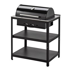 GRILLSKÄR - charcoal barbecue with cabinet, black/stainless steel outdoor | IKEA Hong Kong and Macau - PE774846_S3