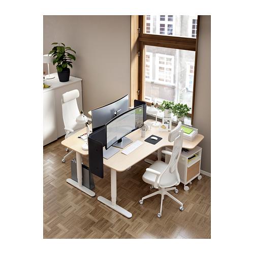 BEKANT - corner desk right sit/stand, 160x110cm, white stained oak veneer white | IKEA Hong Kong and Macau - PH167182_S4