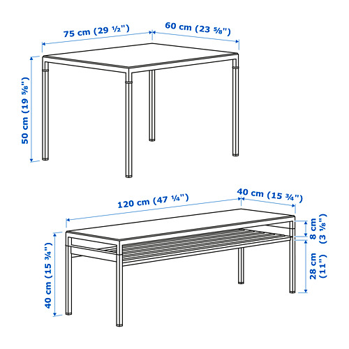 NYBODA nest of tables with reversible tops