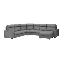 LIDHULT - corner sofa-bed, 6-seat, with chaise longue/Lejde grey/black   IKEA Hong Kong and Macau - PE689466_S3