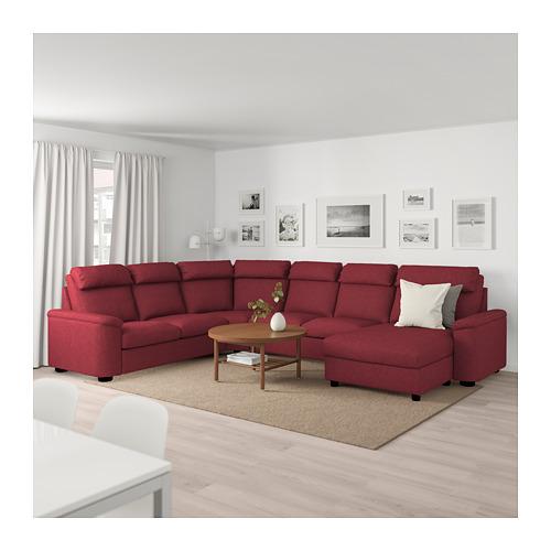 LIDHULT - corner sofa, 6-seat, with chaise longue/Lejde red-brown | IKEA Hong Kong and Macau - PE689469_S4