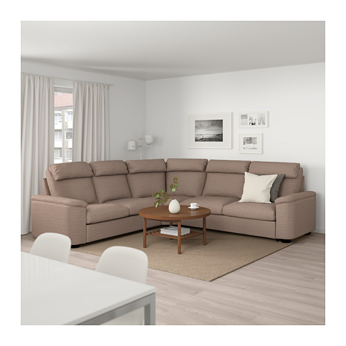 LIDHULT - corner sofa-bed, 5-seat, Lejde beige/brown | IKEA Hong Kong and Macau - PE689594_S4