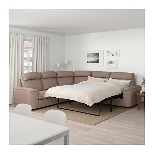 LIDHULT - corner sofa-bed, 5-seat, Lejde beige/brown | IKEA Hong Kong and Macau - PE689597_S4