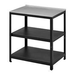 GRILLSKÄR - kitchen island shelf unit, black/stainless steel outdoor | IKEA Hong Kong and Macau - PE774984_S3