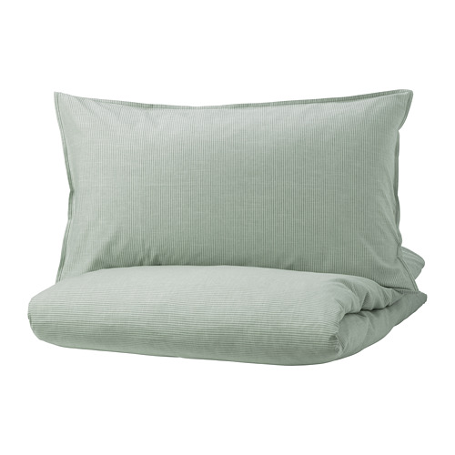 BERGPALM - quilt cover and 2 pillowcases, green/stripe, 200x200/50x80 cm  | IKEA Hong Kong and Macau - PE732529_S4
