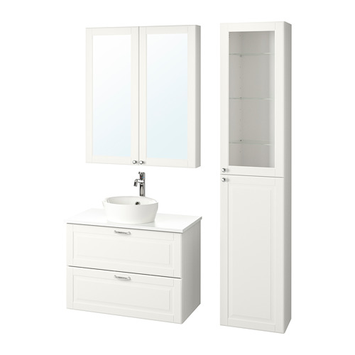 KATTEVIK/GODMORGON/TOLKEN - bathroom furniture, set of 6, Kasjön white/marble effect Voxnan tap | IKEA Hong Kong and Macau - PE786975_S4