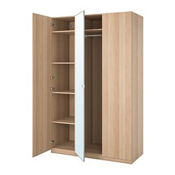 PAX/FORSAND/VIKEDAL - wardrobe combination, white stained oak effect/mirror glass | IKEA Hong Kong and Macau - PE775034_S3