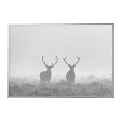 BJÖRKSTA - picture with frame, Deers in fog/aluminium-colour | IKEA Hong Kong and Macau - PE787683_S3