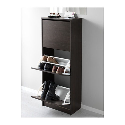 BISSA - shoe cabinet with 3 compartments, black/brown | IKEA Hong Kong and Macau - PE577982_S4