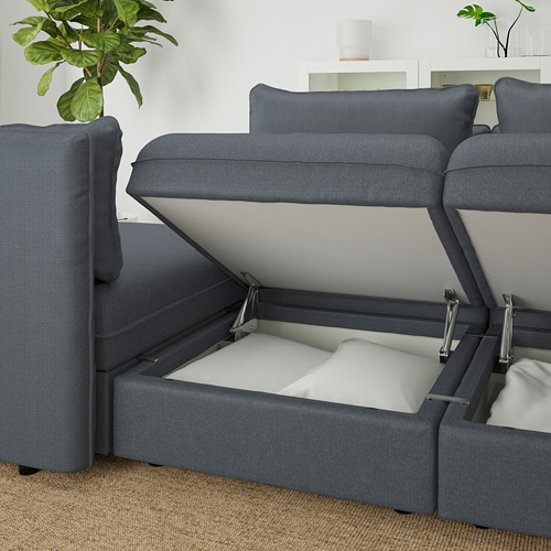 VALLENTUNA - 3-seat modular sofa with sofa-bed, with storage Hillared/dark grey | IKEA Hong Kong and Macau - PE666283_S4
