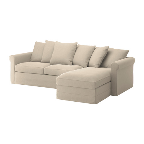 GRÖNLID - cover for 3-seat sofa-bed, with chaise longue/Sporda natural | IKEA Hong Kong and Macau - PE690258_S4