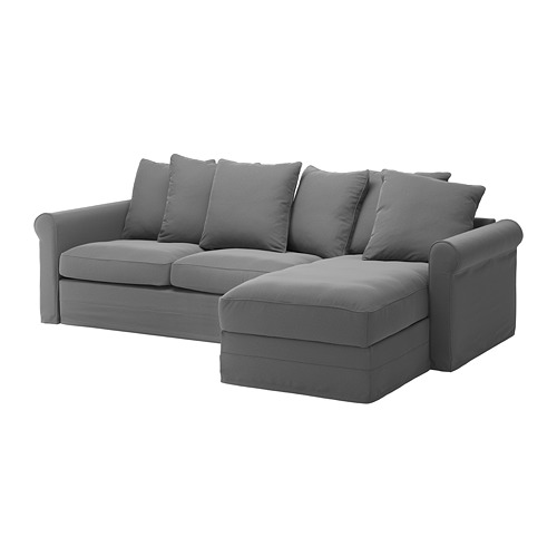 GRÖNLID - cover for 3-seat sofa-bed, with chaise longue/Ljungen medium grey | IKEA Hong Kong and Macau - PE690272_S4
