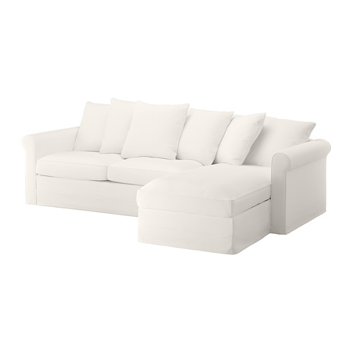 GRÖNLID - cover for 3-seat sofa-bed, with chaise longue/Inseros white | IKEA Hong Kong and Macau - PE690247_S4