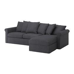 GRÖNLID - 3-seat sofa-bed, with chaise longue/Sporda dark grey   IKEA Hong Kong and Macau - PE690282_S3
