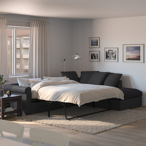 GRÖNLID - corner sofa-bed, 4-seat, with open end/Sporda dark grey | IKEA Hong Kong and Macau - PE690356_S4