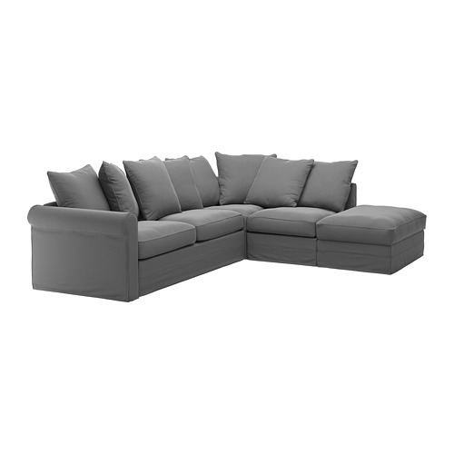 GRÖNLID - cover for corner sofa-bed, 4-seat, with open end/Ljungen medium grey | IKEA Hong Kong and Macau - PE690340_S4